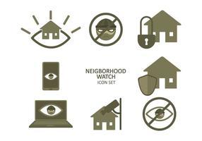 Ensemble d'icônes de surveillance de quartier gratuit vecteur