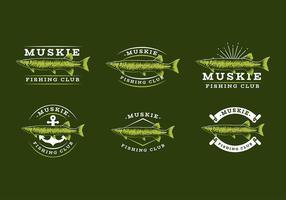 Muscle de pêche Muskie Logo Template Free Vector