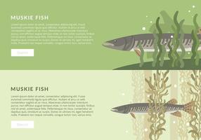 Muskie Fish banner template vecteur gratuit