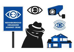 Icône de surveillance de quartier vecteur