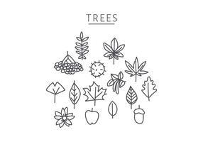 doodle d'éléments d'arbre japonais vecteur