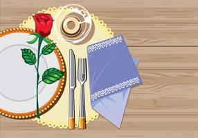 Table marron Serviette de restaurant blanc avec couteau, fourchette et serviette vecteur