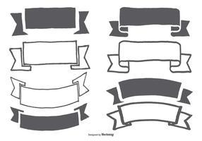 Collection de bannière / ruban à main dessinée vecteur