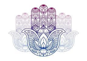 Main des symboles bouddhistes vecteur