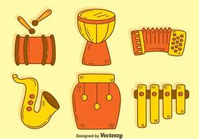 Vecteur d'instruments de musique traditionnelle à la main