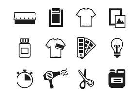 Vecteur gratuit d'icônes d'impression sérigraphique