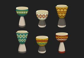 Collection Djembe Drum With Ethnic Pattern Vector Illustration