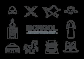 Vecteur d'icônes mongols