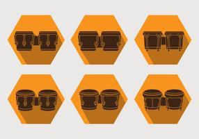 Ensemble d'icônes de Bongo vecteur