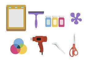 Vecteurs d'outils d'impression à écran plat vecteur