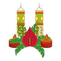 ugadi indien célébration emblèmes dessins animés vecteur