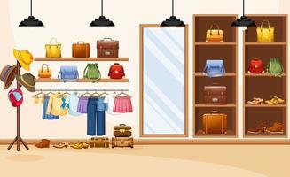 fond de magasin de vêtements de mode vecteur