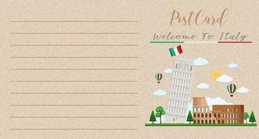 Carte postale vintage vierge avec colisée et tour de pise italie vecteur
