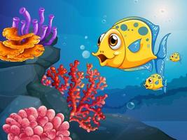 Personnage de dessin animé de nombreux poissons exotiques dans la scène sous-marine avec des coraux vecteur