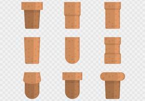 icônes de bouchon de liège brun vecteur