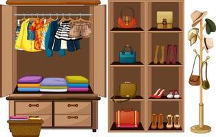 vêtements suspendus sur une corde à linge avec des accessoires en armoire