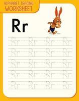 Feuille de calcul de traçage alphabet avec lettre r et r vecteur