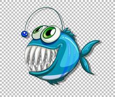 personnage de dessin animé de poisson pêcheur bleu sur fond transparent vecteur