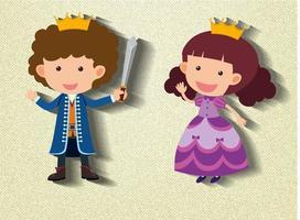 petit personnage de dessin animé chevalier et princesse vecteur