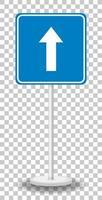 Panneau de signalisation à sens unique avec support isolé sur fond transparent