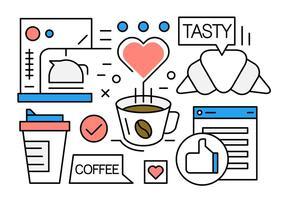 icônes de café linéaire gratuites vecteur