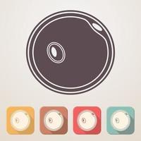 Icône plate ovule dans des cases de couleur avec ombre