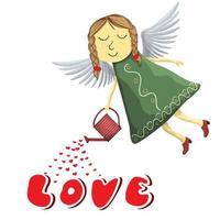 Fée ange arrosage amour isolé sur fond blanc