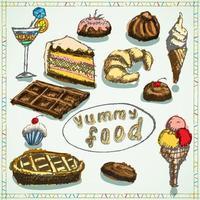 desserts alimentaires mis croquis dessinés à la main colorés vecteur