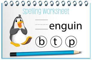 trouver une lettre manquante avec un pingouin vecteur