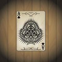 as de clubs cartes de poker aspect ancien bois verni vecteur