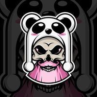 crâne avec chapeau panda sur fond noir