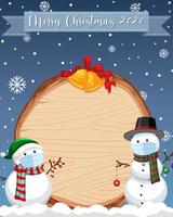Planche de bois vierge avec logo de polices joyeux noël 2020 et bonhomme de neige dans la scène de neige vecteur