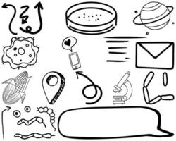 ensemble d'éléments et de symboles doodle dessinés à la main