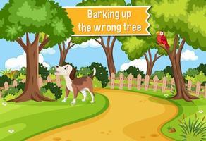 affiche idiomatique avec aboiements dans le mauvais arbre