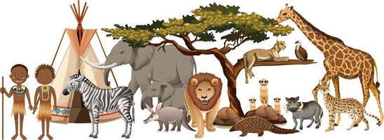 Tribu africaine avec groupe d'animaux africains sauvages sur fond blanc vecteur