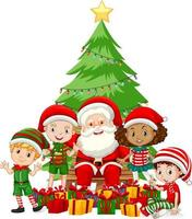 Le père Noël avec des enfants portent un personnage de dessin animé de costume de Noël sur fond blanc