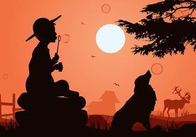 enfants soufflant des bulles silhouette vecteur libre
