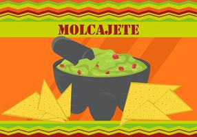 Taco Avec Molcajete Sauce À L'Avocat vecteur