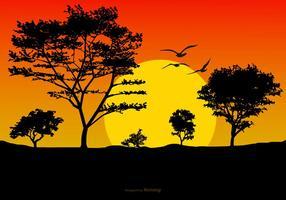 Belle illustration de paysage de coucher de soleil
