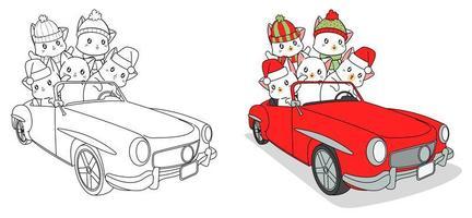 Adorables chats dans la page de coloriage de dessin animé de voiture