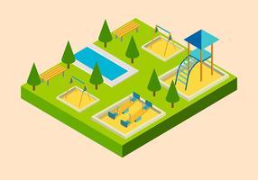 vecteur libre isométrique de terrain de jeu