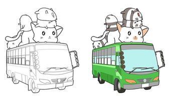 Gros chat et panda sur la page de coloriage de dessin animé de bus vecteur