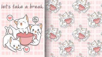 chats kawaii sans couture avec un motif de tasse rose