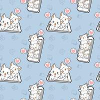 chats kawaii sans couture avec motif de téléphone intelligent