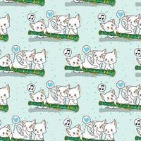 personnages de chat kawaii sans couture avec un motif de flûte vecteur
