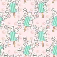 chats kawaii sans couture avec motif de barre de crème glacée