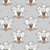 personnages de chat kawaii sans couture avec motif de tambour vecteur