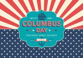 Affiche de vecteur rétro de vente de jour de Columbus