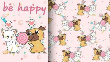 chat kawaii sans couture et chien avec motif de bonbons roses