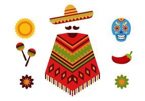 Ensemble d'icônes mexicaines vecteur